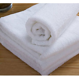 shree plain cotton bath towel (white)