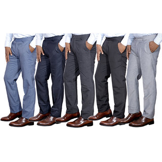 IndiStar Combo Offer Mens Formal Trouser (Pack of 5)