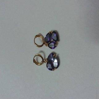 Elegant purple hoops Pair