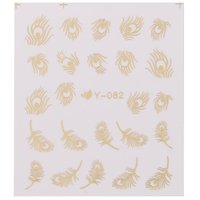 Imported 2 Sheet 3D Feather Design Sticker Nail Art Decals Water Transfer Sticker