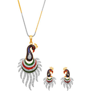 Gold And Silver Finish Exclusive And Stylish Indian Peacock Multicolour AD Pendant Set by Prakasini
