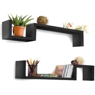 Onlineshoppee Beautiful Wooden Fancy Wall Decor Rack Shelves Size (LxBxH-25x5x6) Inch Pack Of 2