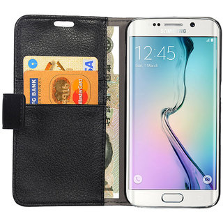 Premium Quality Samsung S6 PU Leather Wallet Stand Protective Flip Cover Case - Black