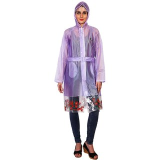 Zeel Violet Translucent Raincoat For Women