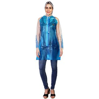 Zeel Blue Translucent Raincoat For Women