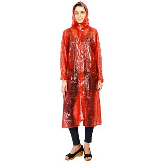 Zeel Maroon Translucent Raincoat For Women