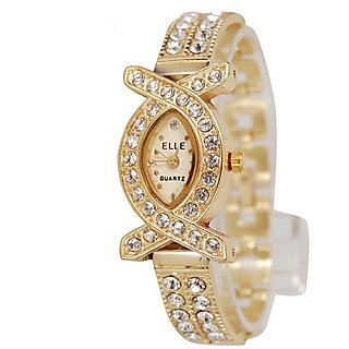 Oval Dial Golden Metal Strap Womens Quartz Watch