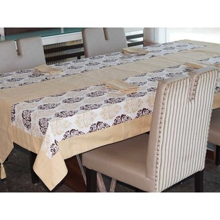 Lushomes Earth Printed 6 Seater Small Table Linen Set