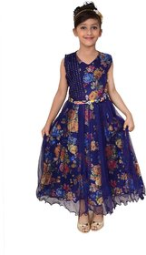 Meia for girls Blue floral print Net frock
