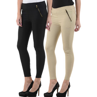 Ektara Black And Beige Jeggings (Combo Of 2)