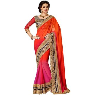 Bhuwal Fashion Designer Saree1 Embroiderd Work Pink Orange Color Faux Georgette Saree-Bf108