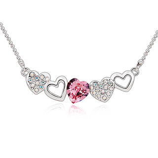 Merastore Multi Hearts Rhodium   Crystal Alloy Pendant