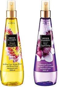 Avon Sheer Passion (Alluring  Tempting) - 50 Ml Each Body Mist - For Women, Girls (400 Ml)