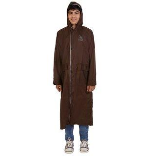 Zeel Reversible Brown Raincoat For Boys