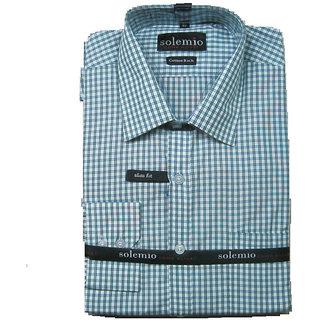 Solemio White Light Green Check Casual Shirt