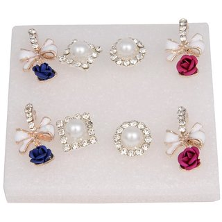 Woap By Trisha Jewels Stunning Beach  Handicrafted Earring For BeachS  Rain Party(Set Of 4).(Gher-3243)