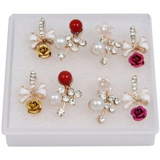 Woap By Trisha Jewels Stunning Beach  Handicrafted Earring For BeachS  Rain Party(Set Of 4).(Gher-3244)