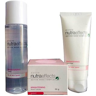 Avon Nutra Effects Brightening Night Cream, Toner And Cleanser (Set Of)