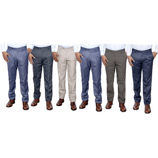 IndiStar Combo Offer Mens Formal Trouser (Pack of 6)