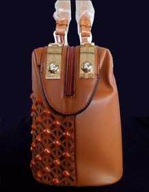 Designer Leather Handbag With Mobile Pocket For Party W
