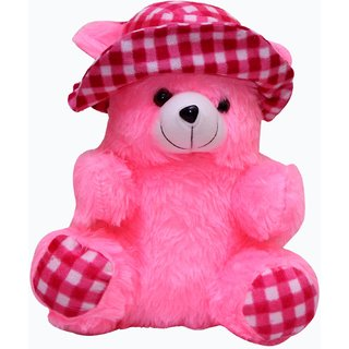 Teddy bear with cap big size pink color-30 cm20 cm18 cm