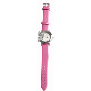 Womens Watches  From Factor With Butterfly Design  Leather Strap In Pink Colour