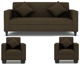 Jakarta 5 Seater (3+1+1) Sofa Set in Brown Upholstery with Cushions