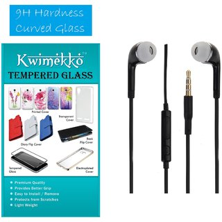 Tempered screen protector glass with 3.5 stereo earphone combo in black for LYF Wind 5