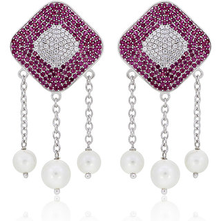Joal Red 925 Sterling Silver Cubic Zirconia MICRO Earrings For Women