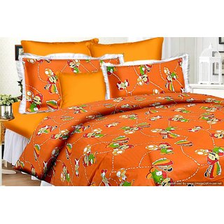 ShwetaInternational Ahmedabad 100 Cotton Kids Special Mario Cartoon Double Bed Sheet With 2 Pillow Covers(90100 Inches