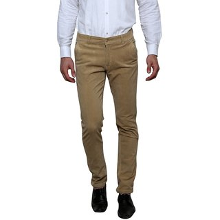 Routeen Men Khaki Slim Fit Corduroy Trousers