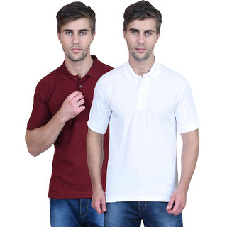 Artistic Blackburne Inc Solid Mens Polo T-Shirt Pack of 2 (White,Maroon)