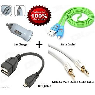 Combo Pack Of Otg Data Cable For Mobile Car Mobile Charger Audio Cable