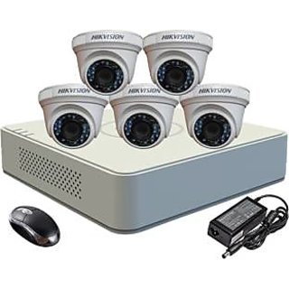 Viveka Infosys DS-2CE56COT-IRP Dome Camera 5Pcs + F1 Mini DVR 8 Channel Home Security Camera(NA GB)