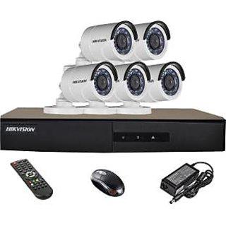 Viveka Infosys HDTVI DS-2CE16COT-IRP Bullet Camera 5Pcs + HDTVI DVR 8 Channel Home Security Camera(NA GB)