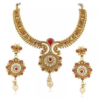 Vidhi Jewels Gorgeous moti Drop Gold Plated Necklace With Earring - VNK101G