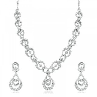 Vidhi Jewels Delightly Rhodium Plated Necklace With Earring -  VNK120R