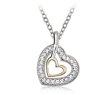 Merastore Double Hearts Rhodium   Crystal Alloy Pendant