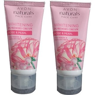 Avon Natural Whitening Powdery Cream, Rose  Pearl Pack Of 2 (100 G)