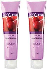 Avon Grape Seed Whitening 3 In 1 Cleanser Scrub  Mask - Set Of 2 (100 G Each) Scrub (200 G)