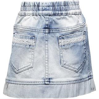 WESTERN BASICS Ice Blue Normal Wash Girls Denim Shorts