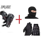 Combo Pack OF FOX RAPTOR BLACK & RED+ Probiker Gloves Black (L)  And Facemask