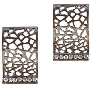 Urthn Alloy Silver Contemporary Danglers Earrings - 1306609