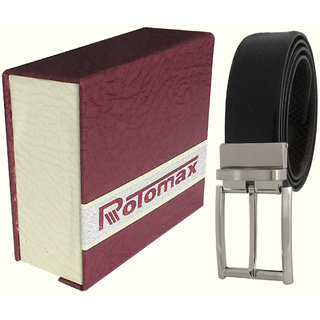 Rotomax Black Genuine Leather  42 Size Mens Belt With Carring Case