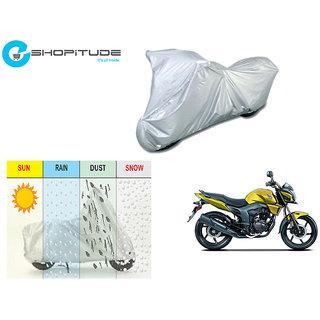 ESHOPITUDE-Silver Bike Body Cover with Mirror Pockets  -Honda CB TRIGGER