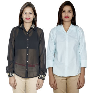 IndiWeaves Women's 1 Embroidered Georgette and 1 Solid Cotton Shirts Combo (Pack of 2 Shirts)