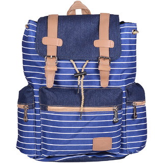 Webhin Blue Striped Canvas Backpack