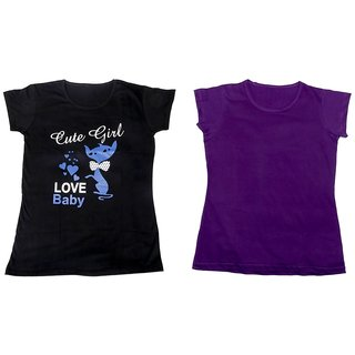 IndiWeaves Girl's 2 Cotton Printed T-Shirts (Pack of 2 T-Shirt)