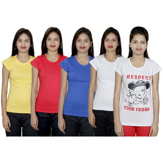 IndiWeaves Women's Cotton Printed and Plain T-Shirt Combo(Pack of 5 T-Shirts)