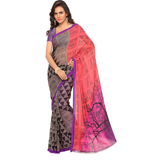 Ambaji Multicolor Georgette Printed Saree With Blouse